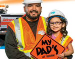 Photo of Caltrans road worker and his daughter