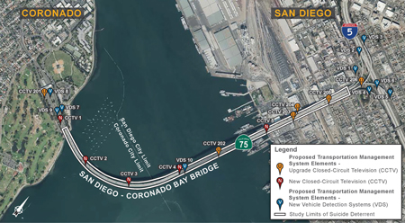 Aerial image of the project limits of the San Diego – Coronado Bay Bridge Suicide Deterrent Project.  For more information contact D11.CoronadoBridge.ED@dot.ca.gov