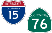 California Interstate 15 and State Route 76 icons