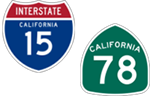 California Interstate 15 and State Route 78 icons