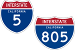 California Interstate 5 and 805 icons