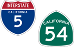 California Interstate 5 and State Route 54 icons
