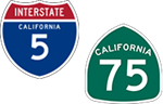 California Interstate  5 and State Route 75 icons
