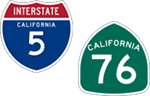 California Interstate 5 and State Route 76 icons