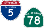 California Interstate 5 and State Route 78 icons