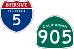 California Interstate 5 and State Route 905 icons