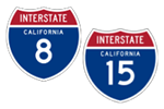 California Interstate 8 and 15 icons