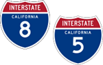 California Interstate's 8 and 5 icons