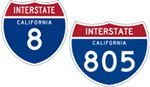 California Interstate 8 and 805 icons.