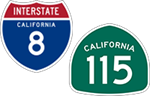 California Interstate 8 and State Route 115 icons