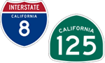 California Interstate 8 and State Route 125 icons