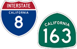 California Interstate 8 and State Route 163 icons