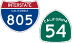 California Interstate 805 and State Route 54 icons