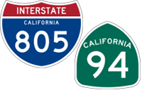 California Interstate 805 and State Route 94 icons