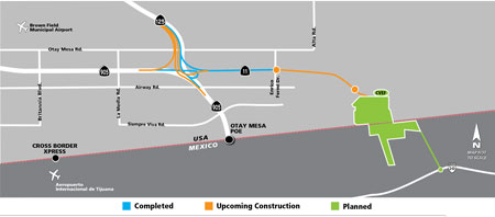 Construction map of the State Route 11/Otay Mesa East Port of Entry Project