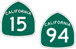 California State Routes 15 and 94 icons