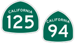 California State Route 94 and State Route 125 icons
