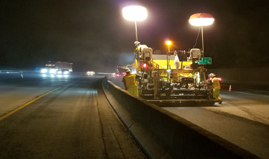 Interstate 5 Northbound Median Paving Operation