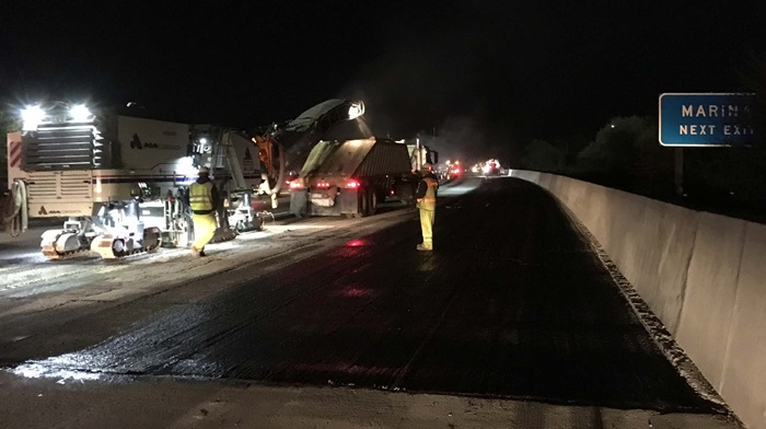Grinding and Tack Coat over Richards Boulevard Bridge at Interstate 5 Northbound