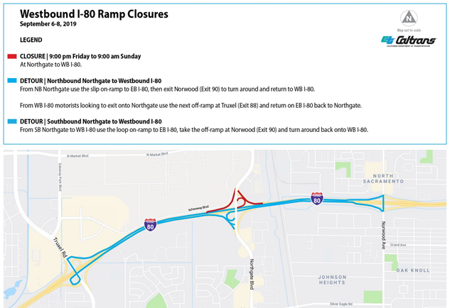 Westbound I-80 Ramp Closures Map