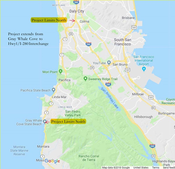 Pacifica Paving Project Limits Map