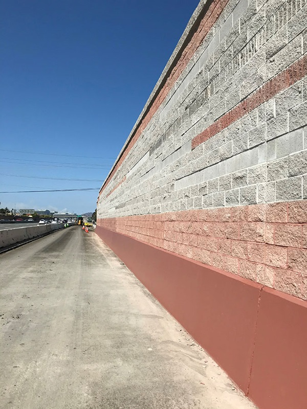 The section of sound wall on Bayshore Boulevard from Dore Avenue to East Poplar Avenue stands complete