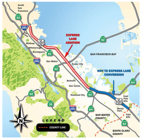 101 Express Lanes Project Map January 2020