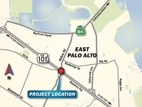 Map of East Palo Alto containing project location, near US101 and Willow Road.