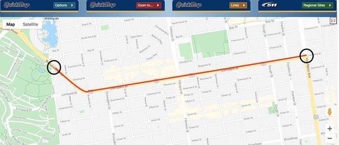 2021-03-15 101 Lombard Street Daytime Lane Closures map