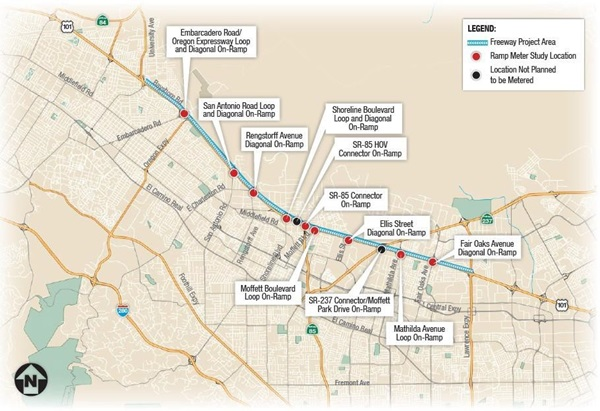 On-Ramp Meters to be Activated on Northbound Interstate 101 map