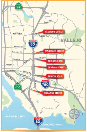 Map of the i80 corridor in Vallejo with red arrows pointing to exits at the following locations: Redwood Street, Tennessee Street, Springs Road, Georgia Street, Benicia Road, and Magazine Street.