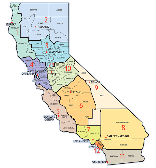 Caltrans Districts Map
