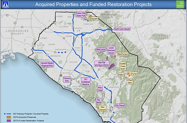 A map of Orange County that shows the land and fund habitat restoration projects created by OCTA's Measure M2 Environmental Mitigation Program.