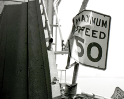 Photo of a damaged speed limit sign on the San Francisco-Oakland Bay Bridge