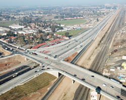 Aerial photo showing stretch of highway 99 construction