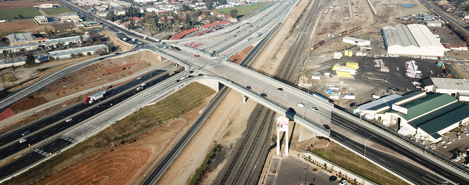 Photo shows an aerial view of the construction project on Highway 99 in Fresno