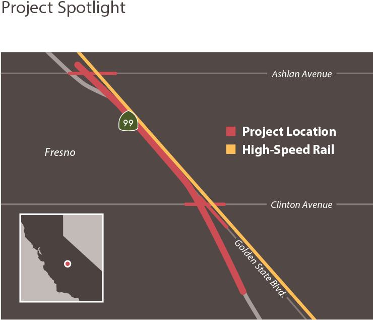 Graphic map depiction of the project location in Fresno and a map of California.