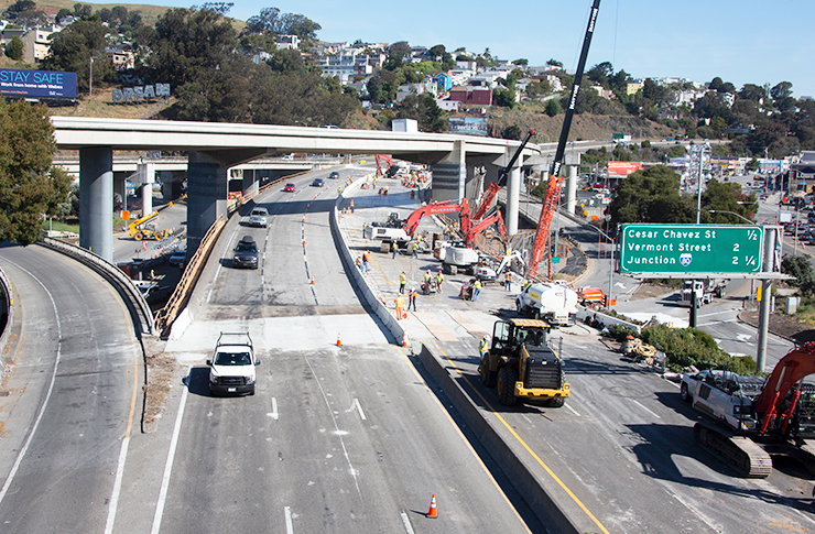 Aerial view of construction on Highway 101 in San Francisco.