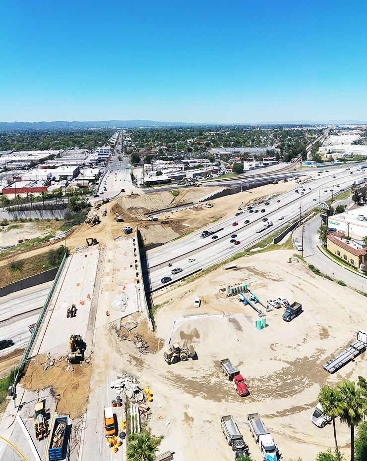 Aerial photo of where the Burbank Bridge was demolished on Interstate 5.