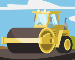 Graphic illustration thumbnail of a steam roller on a highway.