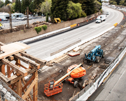 Photo thumbnail of construction equipment in the center divide of Interstate 5 in northern California