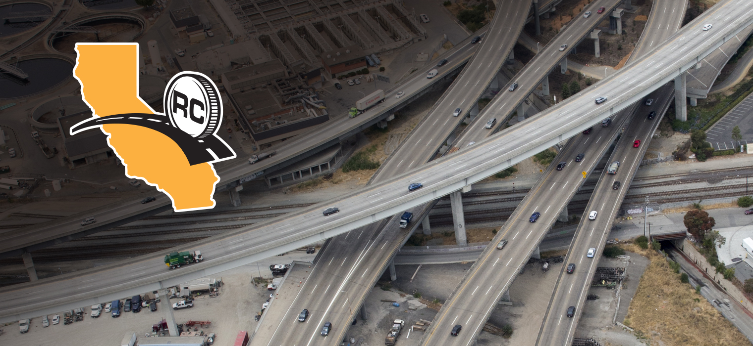 Graphic art showing the Road Charge logo and an aerial photo of the Bay Area freeway system