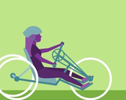 Illustration of a disabled girl riding a custom-made bicycle.