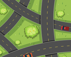 Graphic illustration of an overhead view of many roads and three cars driving over them.
