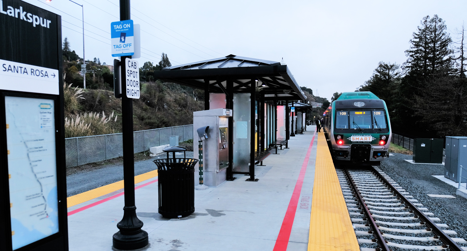 Photo of the SMART train pulling into Larkspur Station in Santa Rosa.