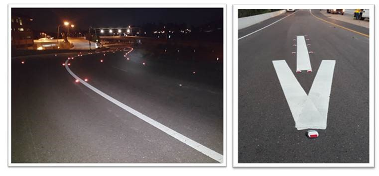 Two-way reflective markers show red to wrong way drivers